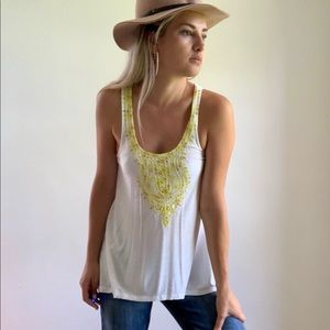 Anthropologie White Yellow Green Embroidered Tank